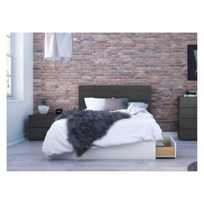 3pc Full Cadence Bedroom Set White/Black - Nexera