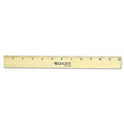 """Westcott Flat Wood Ruler w/Two Double Brass Edges 12"""" Clear Lacquer Finish 05221"""