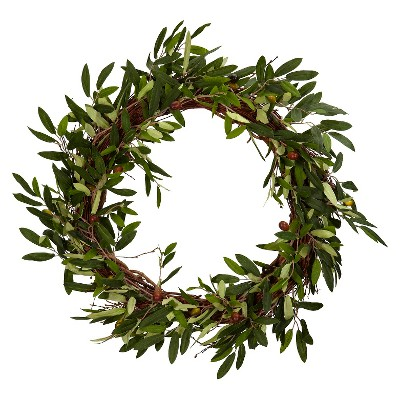 "20"" Artificial Olive Wreath - Nearly Natural"