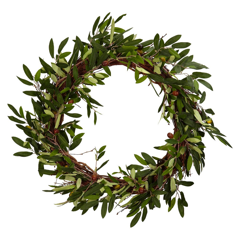 20 Artificial Olive Wreath Green - Nearly Natural
