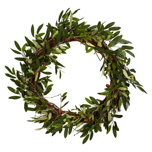 "20"" Artificial Olive Wreath Green - Nearly Natural - image 1 of 1"
