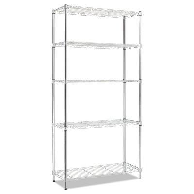 Alera Residential Wire Shelving, Five-Shelf, 36w x 14d x 72h, Silver SW853614SR