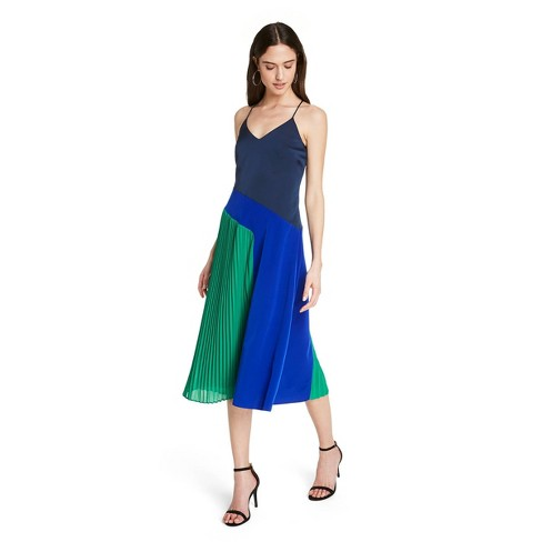 Women's Pleated Dress - CUSHNIE for Target (Regular & Plus) Blue/Green - image 1 of 4
