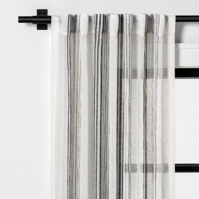 "84"" Vertical Stripe Curtain Sheer Gray - Hearth & Hand™ with Magnolia"
