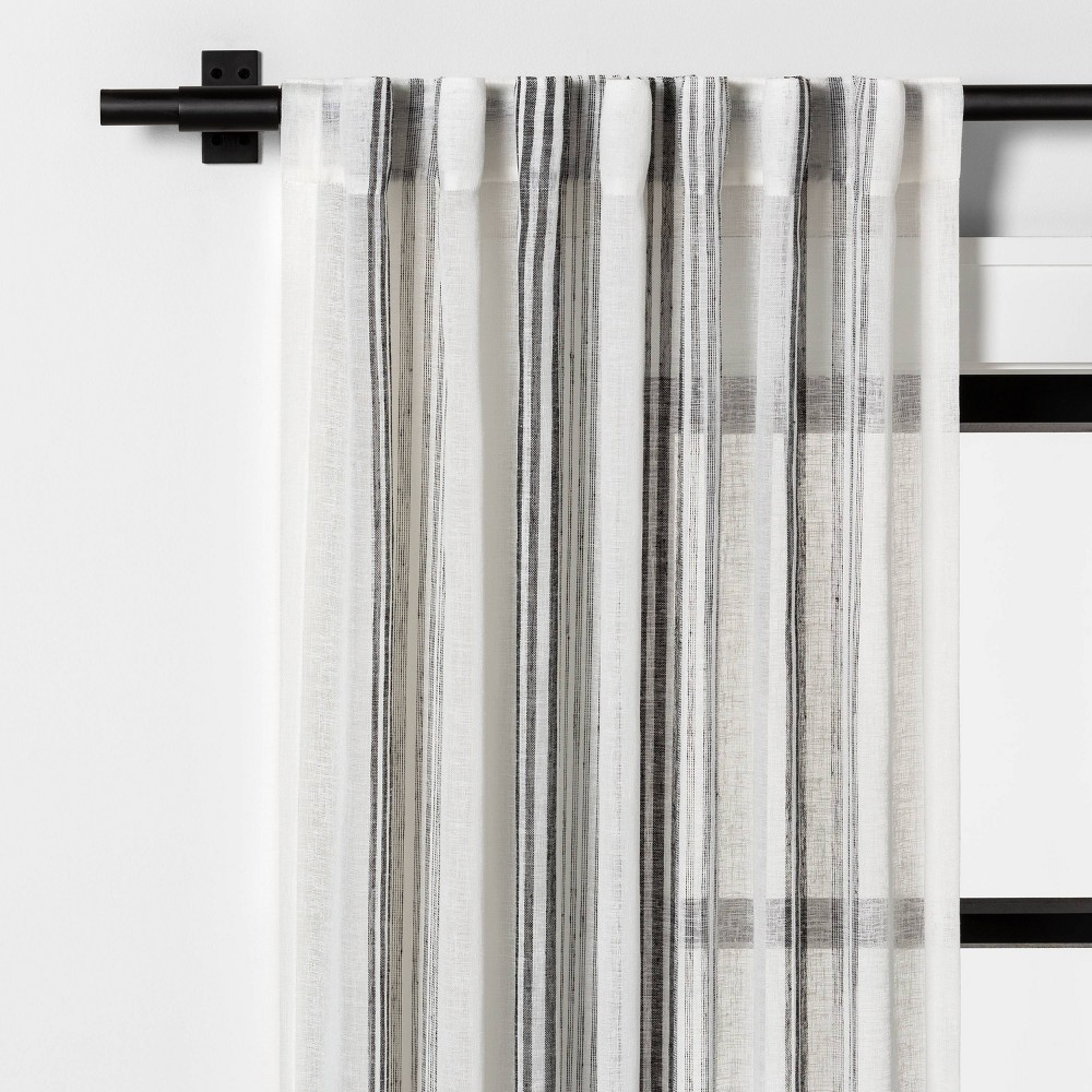 """Image of """"108"""""""" Sheer Vertical Stripe Curtain Gray - Hearth & Hand with Magnolia"""""""