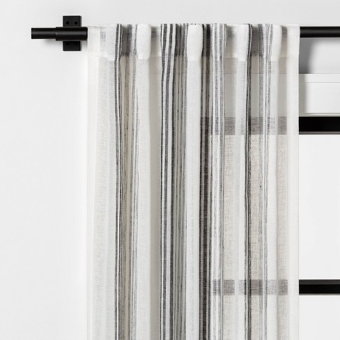 Vertical Stripe Curtain Sheer Gray, Grey Striped Curtains