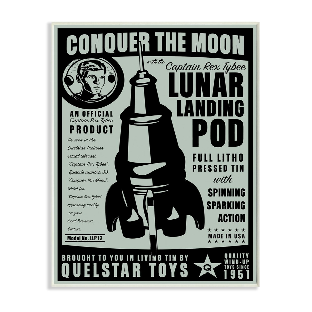 Conquer The Moon Vintage Wall Plaque Art (10x15