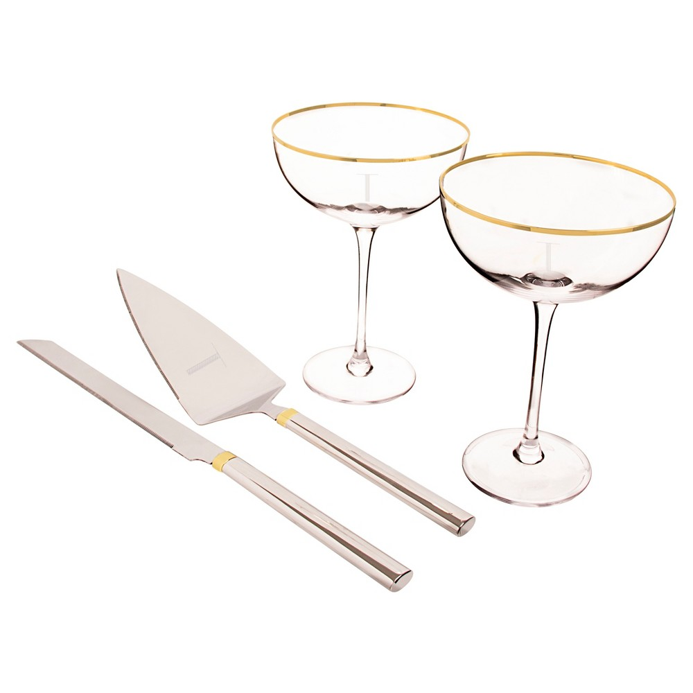 't' Couple Flutes and Cake Serving Set Gold Rim, Medium Clear - T