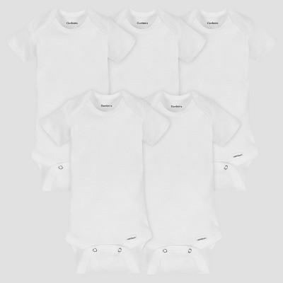 Gerber Baby's Organic Cotton 5pk Organic Short Sleeve Onesies White Newborn
