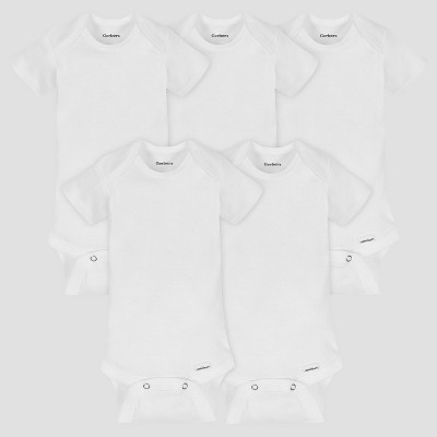 Gerber Baby Organic Cotton 5pk Organic Short Sleeve Onesies White 0/3M