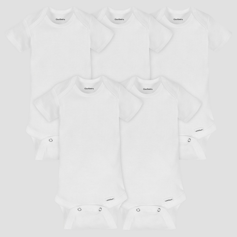 Gerber Baby Organic Cotton 5pk Organic Short Sleeve Onesies White 12M, Infant Unisex