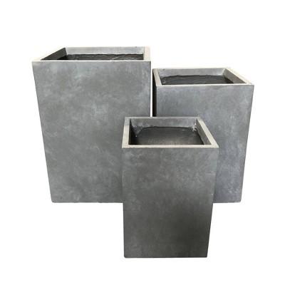 Set of 3 Kante Lightweight Tall Outdoor Square Concrete Planter Slate Gray - Rosemead Home & Garden, Inc.