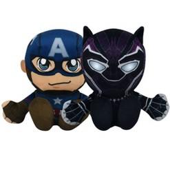 "Bleacher Creatures Marvel 8"" Kuricha Bundle: Captain America & Black Panther Plushies"