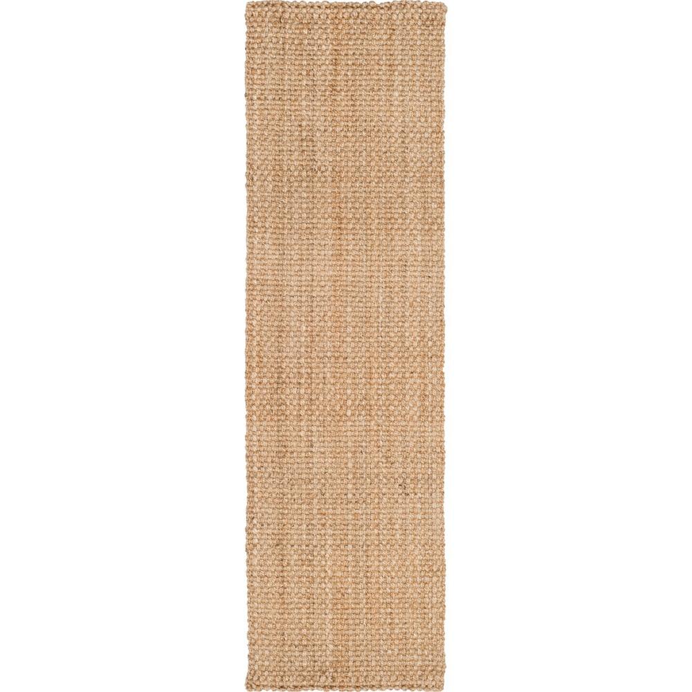 2'3X18' Solid Woven Runner Natural - Safavieh, White