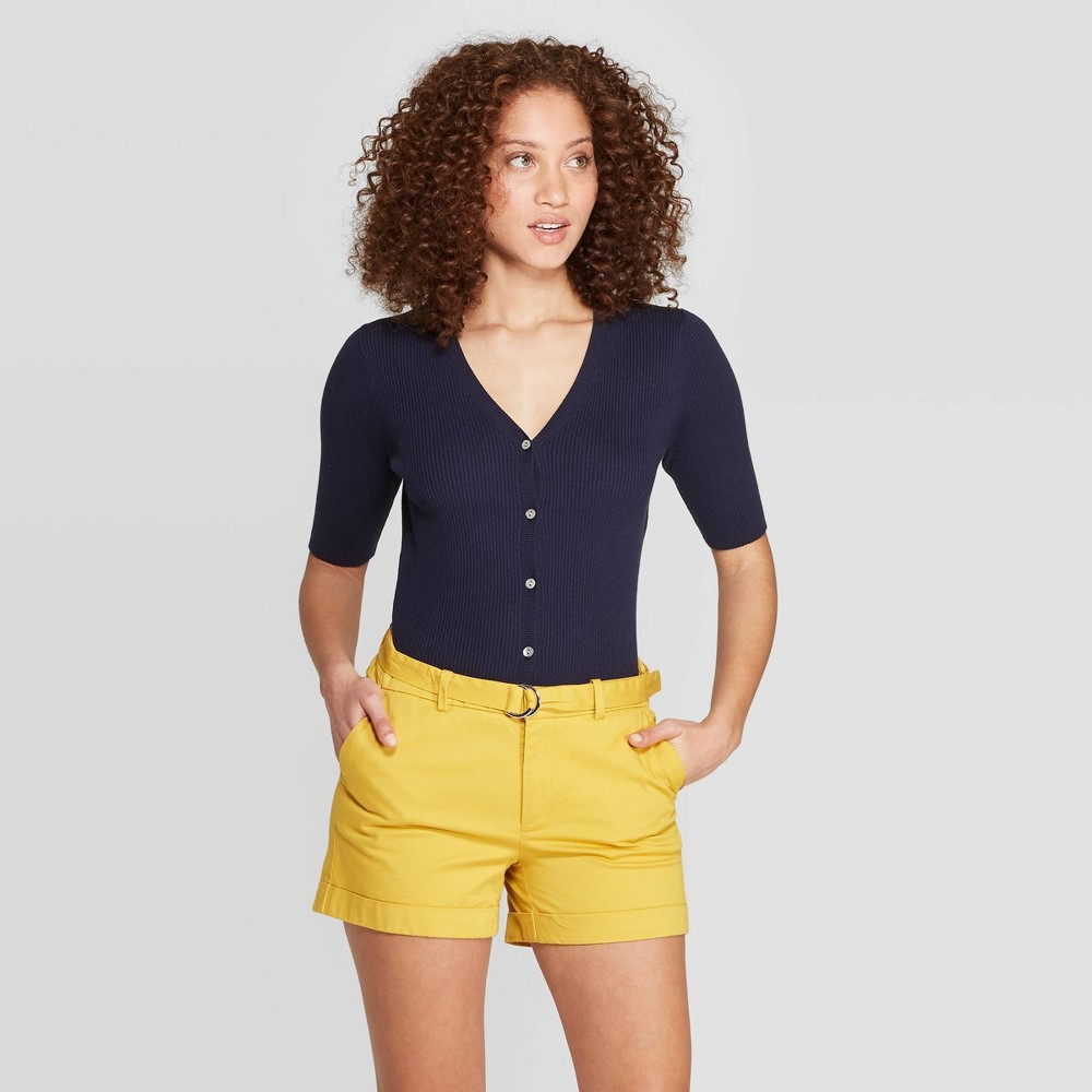 Women's Regular Fit Basic Sleeve V-Neck Cardigan - A New Day Navy (Blue) L