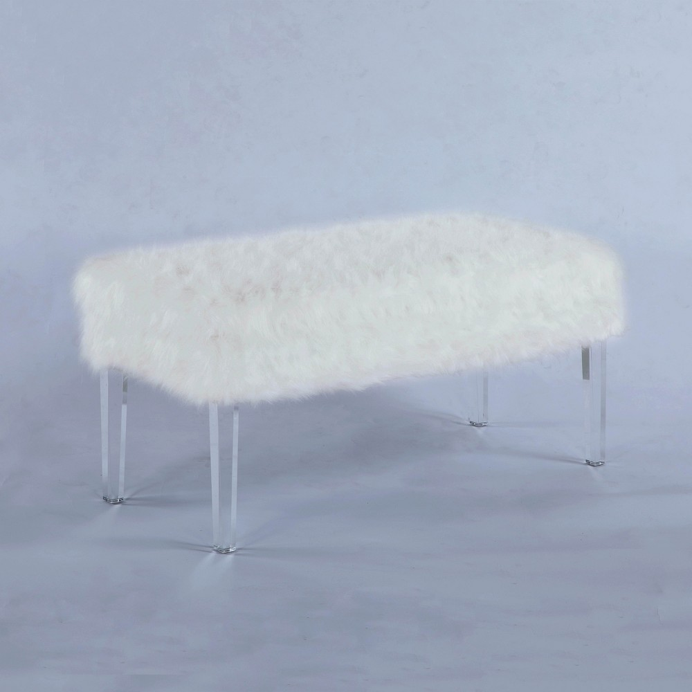 "Image of ""20"""" Beverly Faux Fur Storage Bench with Acrylic Legs White - Ore International"""