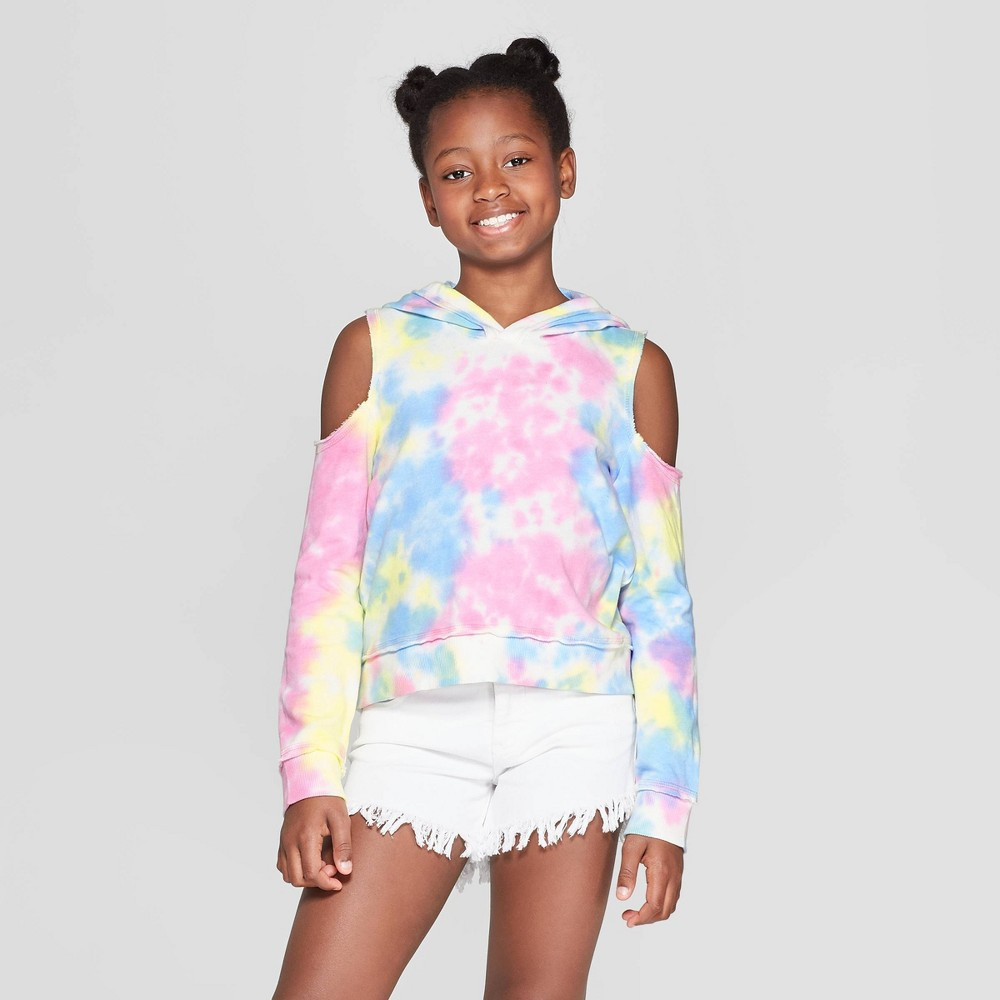 Girls' Long Sleeve Cold Shoulder Hoodie - art class XL, Multicolored