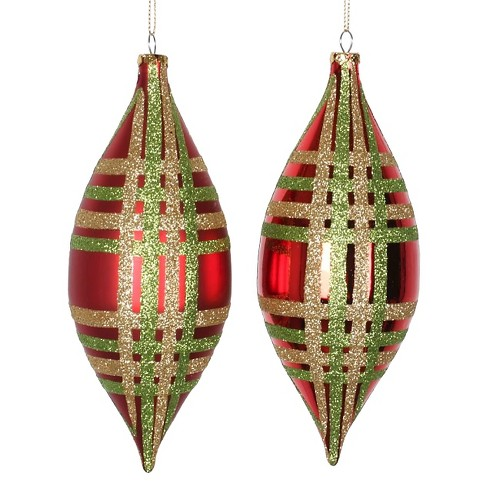 4ct Red/Lime/Gold Shiny/Matte Glitter Drop Christmas Ornament Set - image 1 of 1