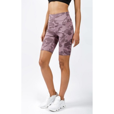"""Yogalicious - Women's Squat Proof Lux Camo High Waist 9"""" Biker Shorts with Side Pockets"""