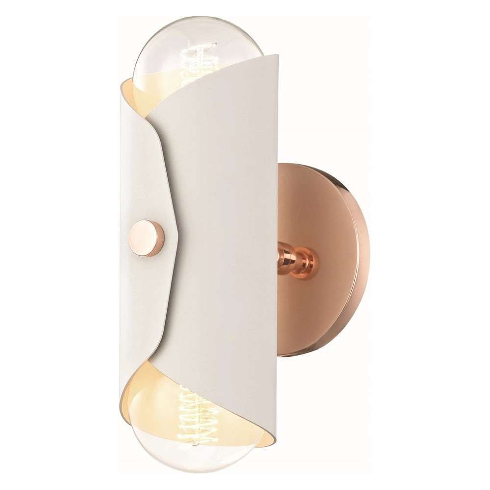 2pc Immo Wall Sconce White White/ Copper (Brown) - Mitzi by Hudson Valley