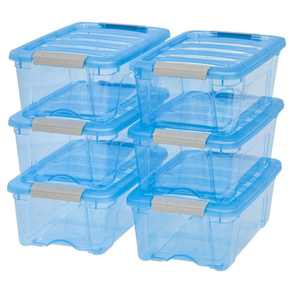 Image of Iris 12.9 Qt Plastic Storage Bin, Blue - 6 Pack