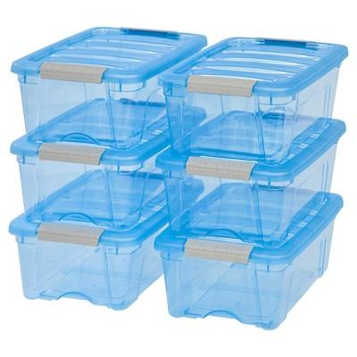 IRIS 12.9 Qt Plastic Storage Bin, Blue   6 Pack