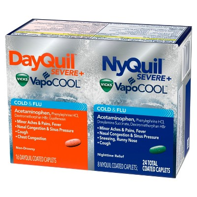Cold & Flu: DayQuil + NyQuil Severe Vicks VapoCOOL Caplets
