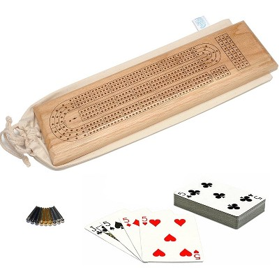 WE Games Deluxe Cribbage Set - Solid Oak Wood Continuous 3 Track Board with Easy Grip Pegs, Deck of Cards & Canvas Storage Bag