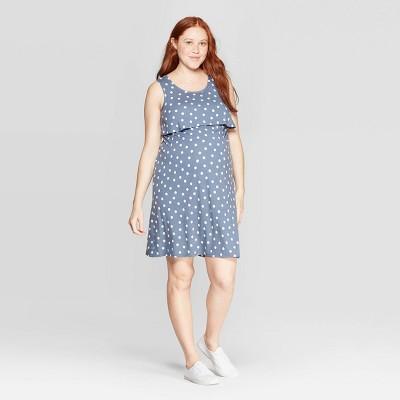 Maternity Polka Dot Round Neck Double Layer Nursing Dress - Isabel Maternity by Ingrid & Isabel™ Indigo S