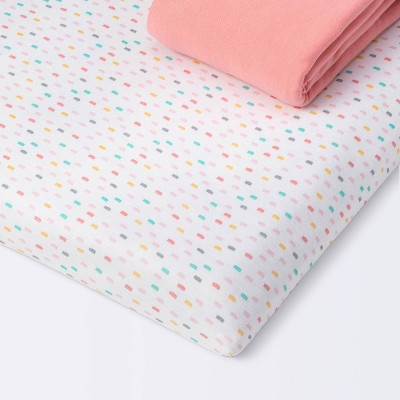 Fitted Play Yard Jersey Sheet - Cloud Island™ Confetti/Coral 2pk