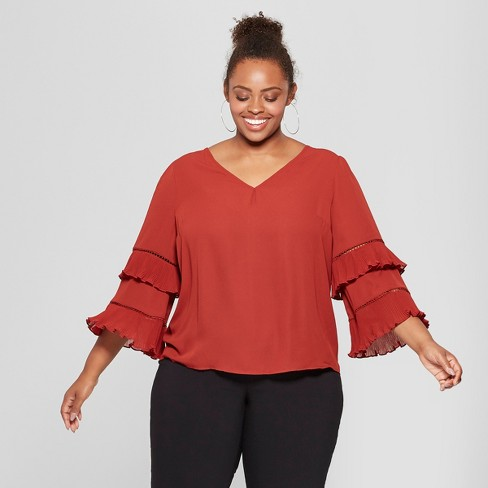 98bd85f0303 Women s Plus Size Pleated Long Sleeve Blouse - Ava   Viv™ Red 3X ...