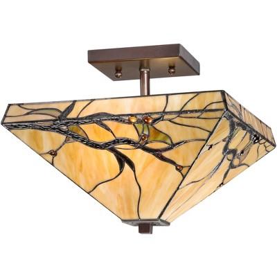 "Robert Louis Tiffany Mission Ceiling Light Semi Flush Mount Fixture Bronze 14"" Wide Budding Branch Art Glass for Bedroom"
