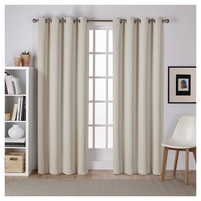 Set of 2 Sateen Twill Weave Insulated Blackout Grommet Top Window Curtain Panels Linen (52 x96 )- Exclusive Home®