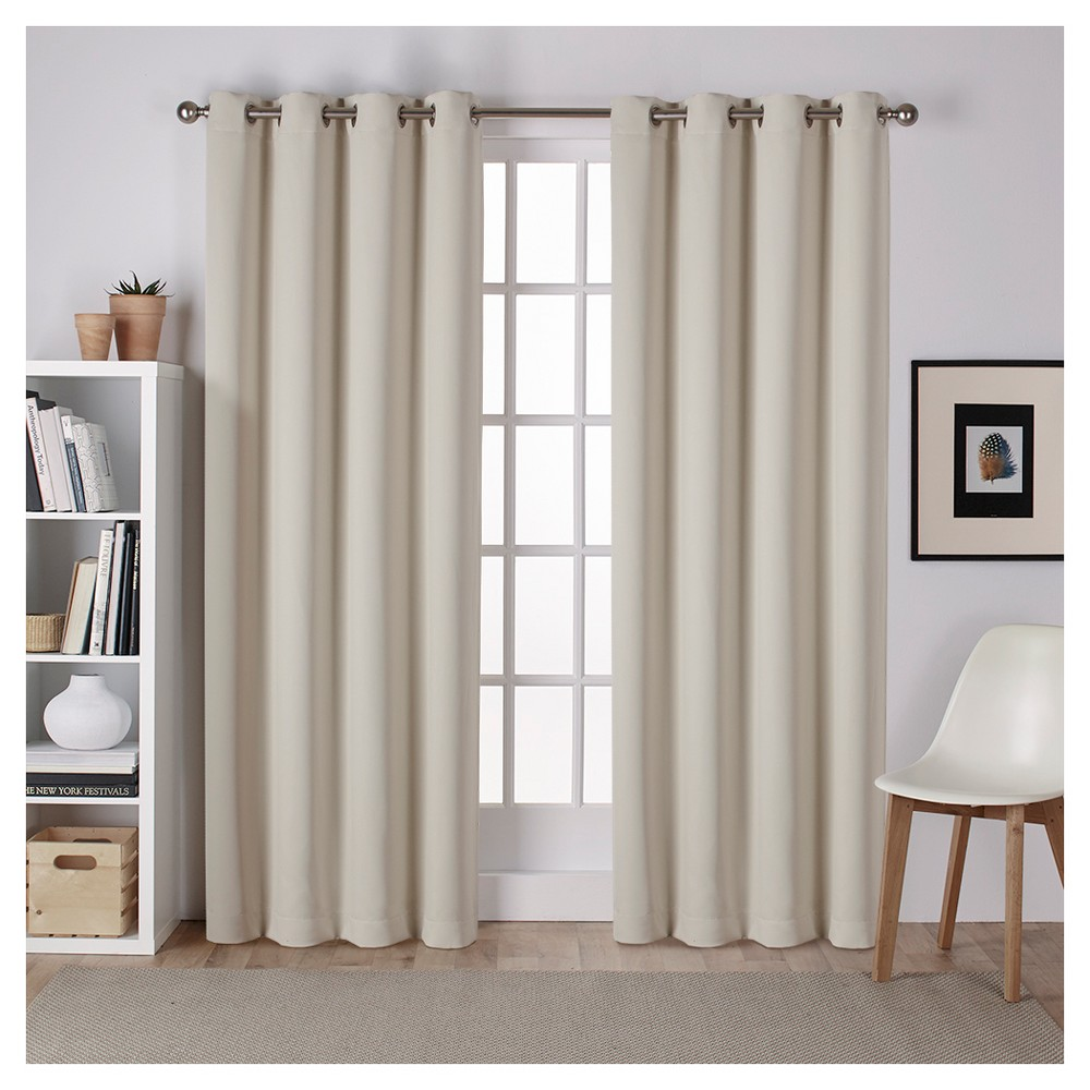 """Image of """"Set of 2 Sateen Twill Weave Insulated Blackout Grommet Top Window Curtain Panels Linen (52 X 108"""""""") - Exclusive Home, Size: 52""""""""x108"""""""""""""""
