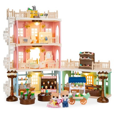 Best Choice Products Deluxe Cottage Dollhouse Mansion Pretend Toy Playset w/ 225 Accessories  and Tiny Critters for Kids
