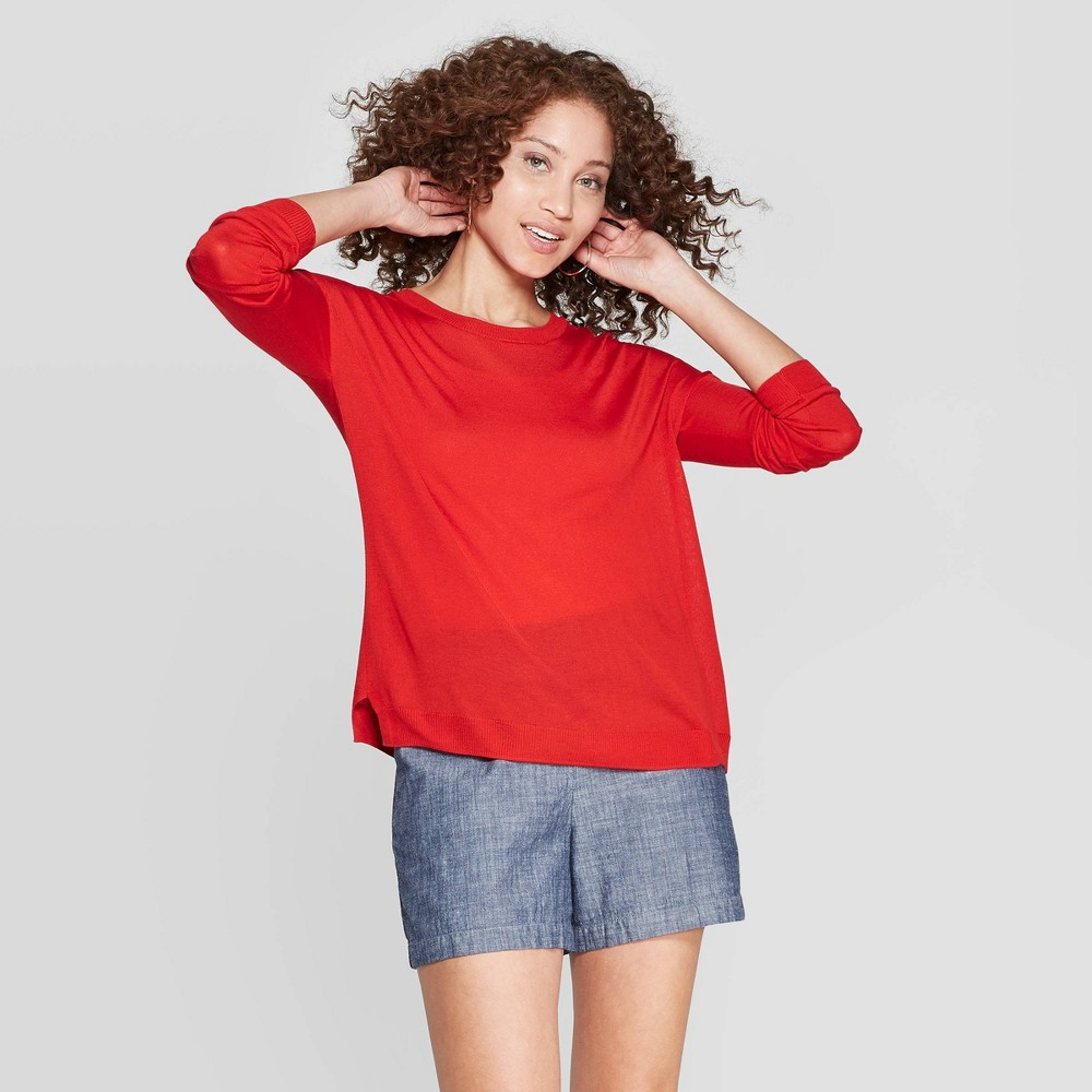 ec2039e78 Womens Long Sleeve Crewneck Pullover Sweater A New Day Red XS