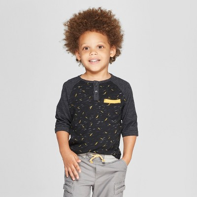 Toddler Boys' Genuine Kids from OshKosh® Raglan Henley 3/4 Sleeve - Black 18 M