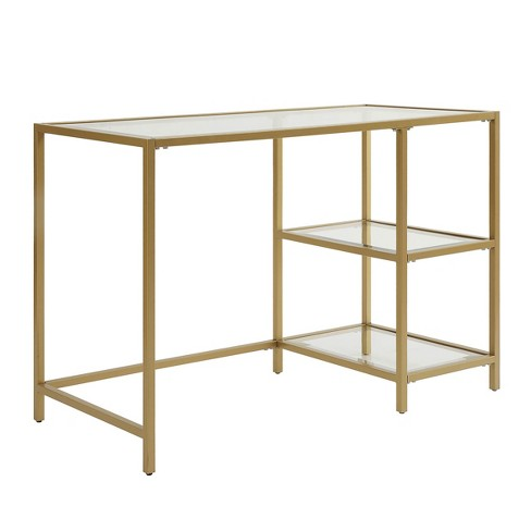 Langley Glass Top Desk with Shelves Gold - Carolina Chair & Table - image 1 of 3