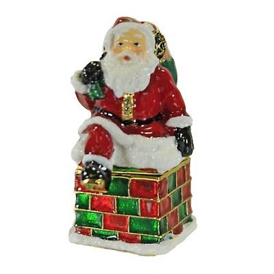 "Hinged Trinket Box 2.5"" Santa Chimney Box Christmas Presents  -  Decorative Figurines"