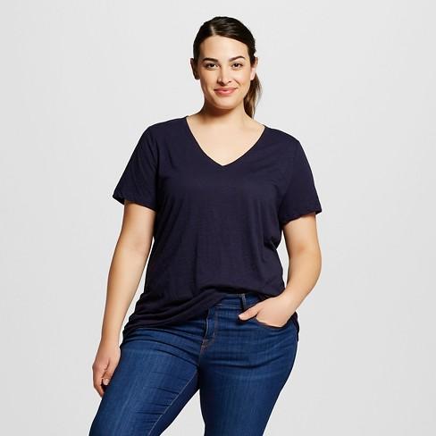 49b454274f4 Women s Plus Size V-Neck T-Shirt - Ava   Viv™ - Navy 1X   Target