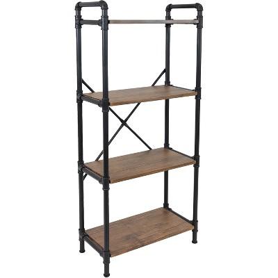 Sunnydaze 4 Shelf Industrial Style Pipe Frame Freestanding Bookshelf with Wood Veneer Shelves - Teak