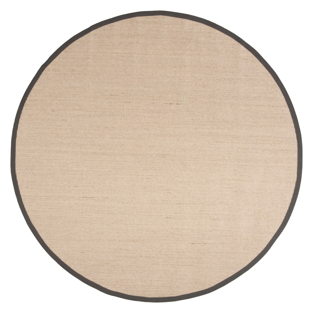 6' Solid Loomed Round Area Rug Natural/Dark Gray - Safavieh