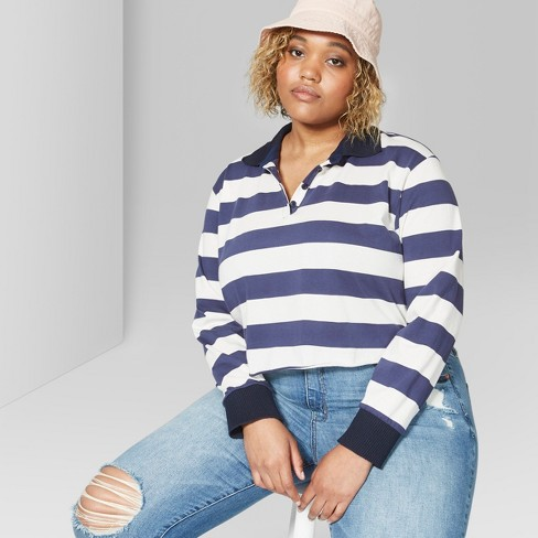 Women S Plus Size Rugby Striped Long Sleeve Boxy Polo Shirt Wild Fable Blue 1x