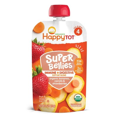 HappyTot Super Bellies Organic Bananas Carrots & Strawberries Baby Food Pouch - 4oz