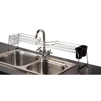 Home Basics Chrome Plated Steel  Faucet Spacer Over the Sink Shelf with Cutlery Holder