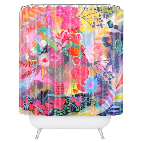 Floral Tropical Shower Curtain Pink