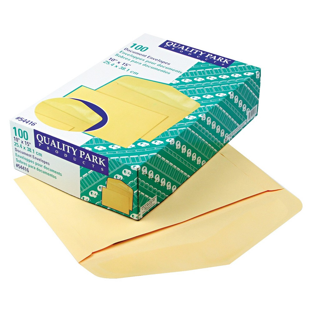 Quality Park Open Side Booklet Envelope, Traditional, 15 x 10, Cameo Buff, 100/Box, Yellow