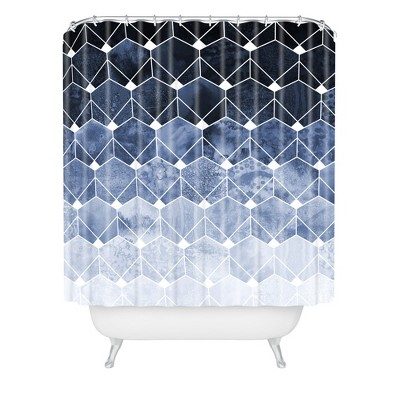 Blue Hexagons and Diamonds Shower Curtain Blue - Deny Designs