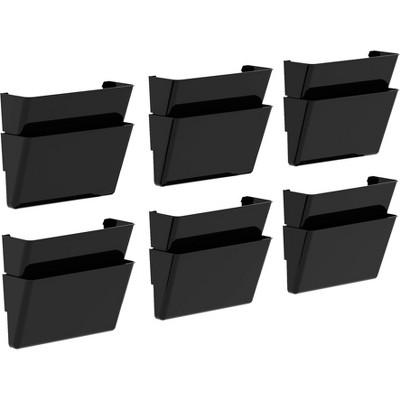 Storex 12pk Snap & Stack Wall File Pockets - Black