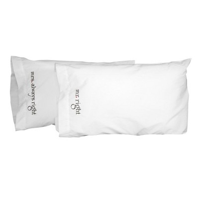 """Mr. and Mrs"" Right Pillowcase Set"